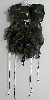 US Military Issue Enhanced Tactical Load Bearing Vest LBV Woodland Camo EXC