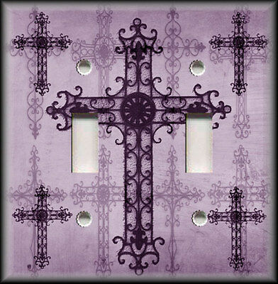Metal Light Switch Plate Cover - Old World Crosses Decor Purple Home Decor