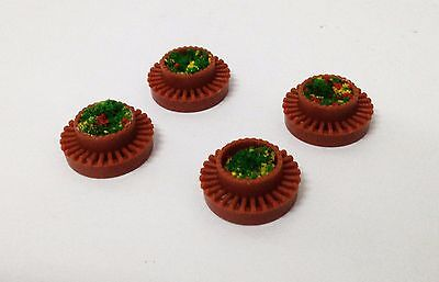 Outland Models Railway Layout Round Pot w Flower x4 for Park Garden Scale HO OO