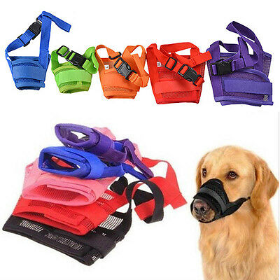 Pet Dog Mask Bark Bite Mesh Mouth Muzzle Grooming Anti Stop Chewing Size S-XXL