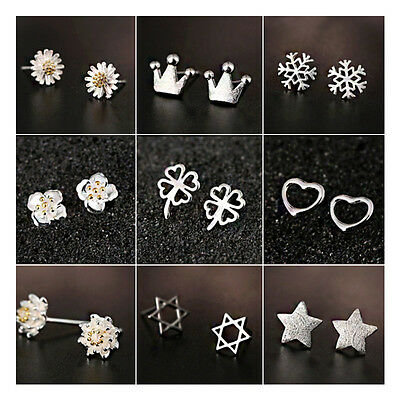 Fashion Women Silver Korean Bohemian Punk Earrings Ear Stud 925 Sterling Jewelry