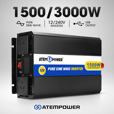 Pure Sine Wave 1500W Max 3000W 12V-230V Power Inverter Car Caravan Camping Boat