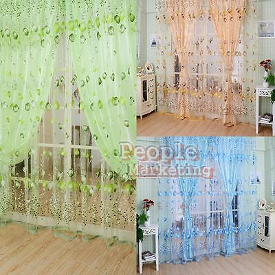 Color Floral Tulle Voile Door Window Curtain Drape Panel Sheer Scarf Valances