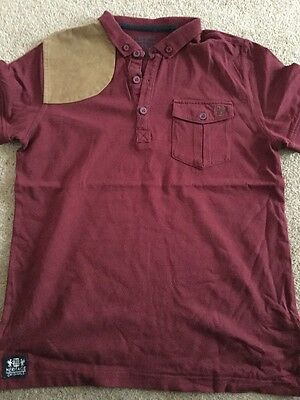 Preloved - Two Boys Next Polo Top - Claret & Brown And Khaki Green Size 11yrs