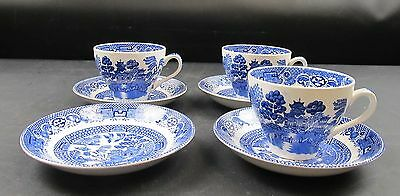 Swinnertons Old Willow Ironstone 3 Cups & Saucers + A Spare Saucer