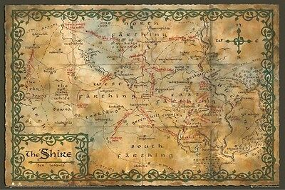 THE HOBBIT ~ SHIRE MAP 24x36 MOVIE POSTER Desolation Of Smaug Middle Earth