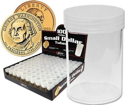 (10) BCW Round Small Dollar Coin Tubes Clear with Screw On Lids