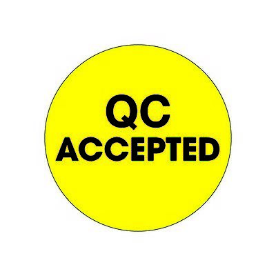 """""""Tape Logic Labels, """"""""QC Accepted"""""""", 2"""""""" Circle, Fluorescent Yellow, 500/Roll"""""""