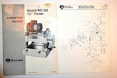 "Rockwell Instruction Manual Model Rc-33 13"" Planer & Parts List #rr776"