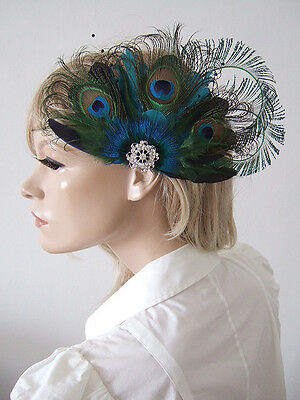 Bridal Peacock Feather Cluster Crystal Brooch Teal Olive Clip Fascinator MNB2908