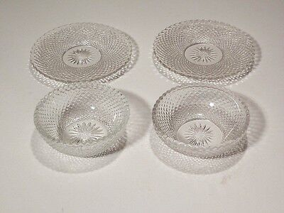 Heisey Diamond Point 2 Individual Jelly Dishes And 2 Nut Dishes Nice