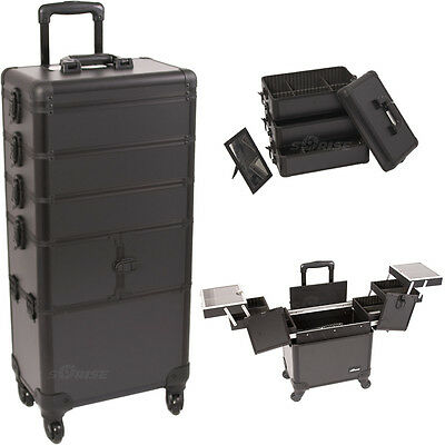 Professional 4 in 1 Aluminum Hair Stylist Rolling Makeup Case Cosmetic Trolley