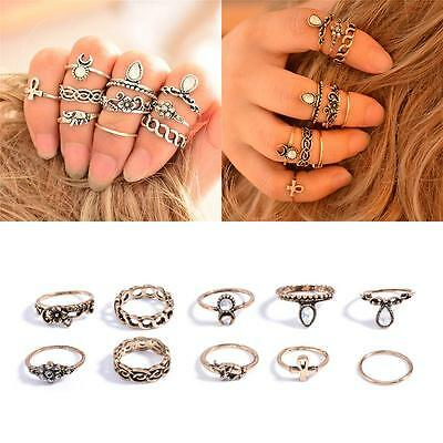 10Pc/set Retro Women Metal Gold Silver Knuckle Carved Crystal Gem Moon Midi Ring