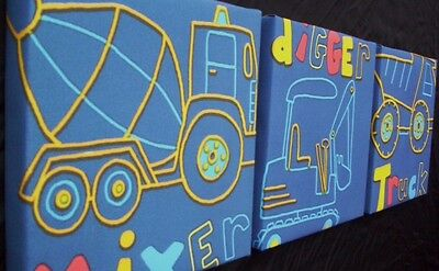 3 X Deep Edge Canvas Pictures / Next Little Digger  New