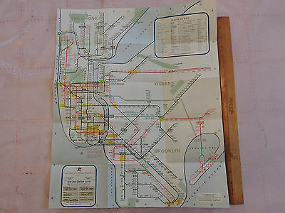 RARE 1967 NYC New York City NYC  BROOKLYN ! Subway MAP IRT IND BMT LINES NICE!!!