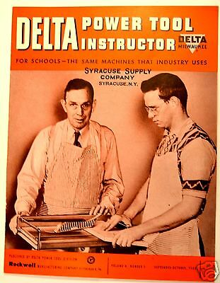 DELTA POWER TOOL INSTRUCTOR: for schools v.4 n.1 1953 #RR24 projects scroll saw
