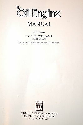 THE OIL ENGINE MANUAL Book UK by Williams 1956 #RB106 technical data maintenance