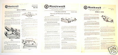 "3 PC ROCKWELL & DELTA 4""-8"" JOINTER MANUAL GROUP #RR106 operation maintenance"