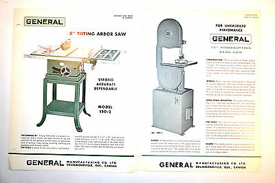 "2 Vintage GENERAL Canada 8"" Table SAW & 15"" WOOD CUTTING BAND SAW RR624 Brochure"