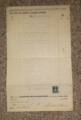 Vintage NEW YORK CENTRAL RAILROAD 1864 Freight List revenue stamp