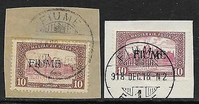 Fiume stamps 1918 MI 25I+25II on fragments  CANC  VF