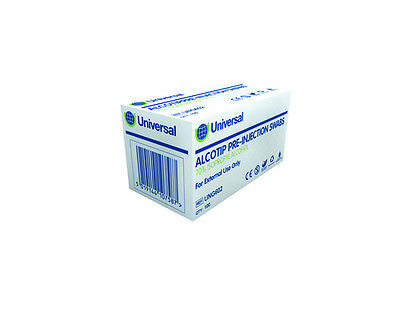 Universal Alcotip 70% Isopropyl Alcohol Wipes / Swabs, 100pk (FREE UK P&P)