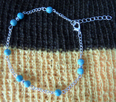 Anklet Foot Silver Color Chain With Small Turquoise Balls  ,adjustable