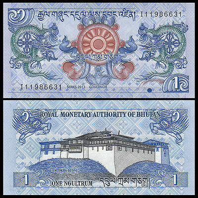 Asia - Bhutan 1 Ngultrum Paper Money,2013,P-27,Uncirculated .1Pieces