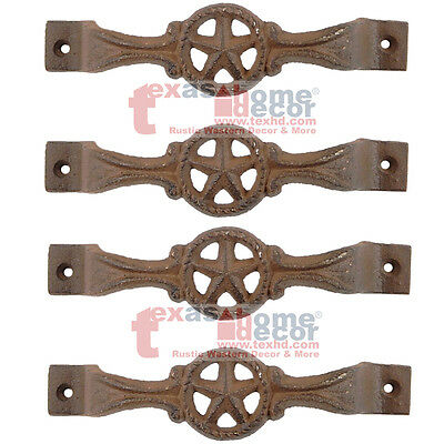 4 Star Cast Iron Antique Style RUSTIC Barn Handle, Gate Drawer Pull, Shed Door