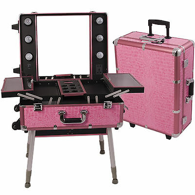 Professional Makeup Case Lighted Mirror Large Rolling Studio Cosmetic Train NIB