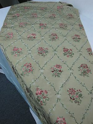 """3 PCS VINTAGE GREEN SILK UPHOLSTERY FABRIC with EMBROIDERED FLOWERS 25"""" X 50"""""""
