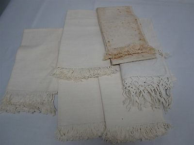 6 ANTIQUE LINEN BATH TOWELS with FRINGE & MONOGRAM ~ LOVELY LOT