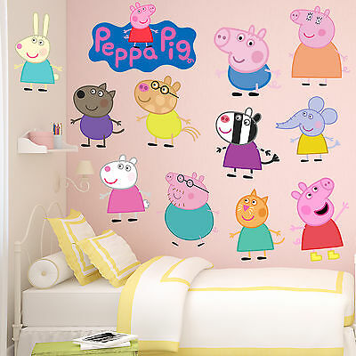 Peppa Pig and Friends Kids Boys Girls Bedroom Wall Decal Art Sticker New Gift