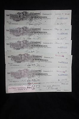 Vintage 1920's Lot of 5 The Page Seed Company Cancelled Checks Greene New York