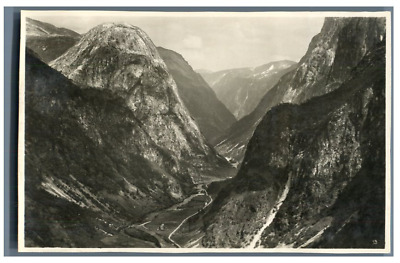 Norge, Norway's Mountains  vintage silver print. Postcard paper  Tirage a