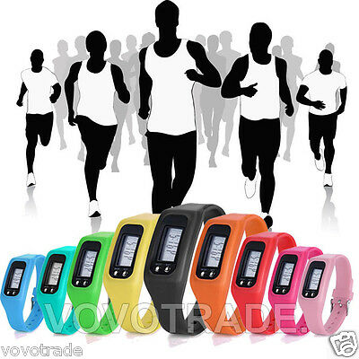 Digital LCD Pedometer Calories distance counter Silicone Fitness sport watch