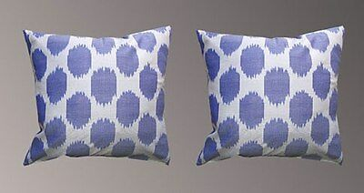 2 Uzbek Silk Ikat Fabric Pillow Cases Orient 6363-6766