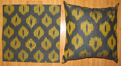 2 Uzbek Silk Ikat Fabric Pillow Cases Orient 7406-7457