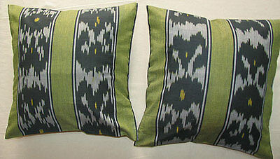 2 Uzbek Silk Ikat Fabric Pillow Cases Orient 6568*