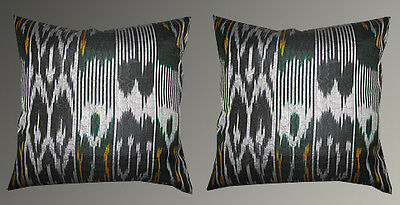 2 Uzbek Silk Ikat Fabric Pillow Cases Orient 7274*