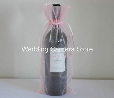 """12 Quality pink Organza Bags - Bottle/Wine bags,Gift bags 6x14"""""""