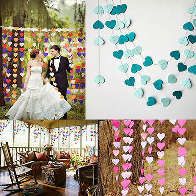 Heart Shaped Banner Flags Garland Wedding Baby Birthday Christening Party Decor@
