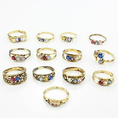 VINTAGE Lot of 13 Gold-Wash Sterling Rings Colorful Stones Sizes 5.5 thru 8 29gr