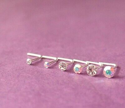 Sterling Silver Tiny 1.2 or 2 mm non claw set Crystal L Shaped Nose Stud 0.6 mm