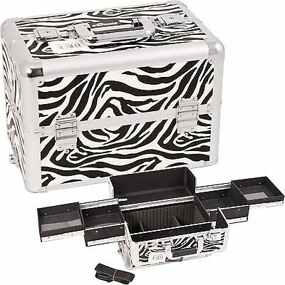 Makeup Train Case Cosmetic Rolling Organizer Storage Trolley Sunrise - Zebra NIB