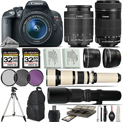 Canon EOS Rebel T5i SLR Camera 700D + 18-55mm + 55-250mm IS STM Lens - 64GB Kit