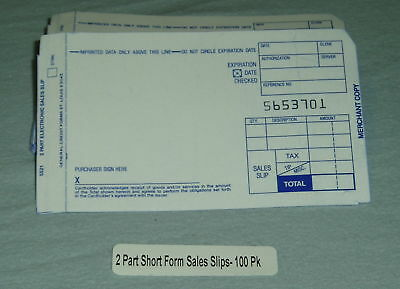 Sales Slips for Manual Imprinters- 2 part short- 200 slips