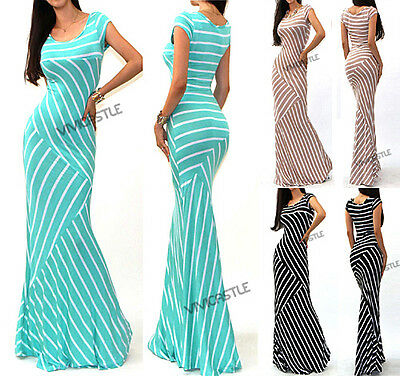 87c09e0fa2 VIVICASTLE R17 Mixed Stripe Fitted Jersey Knit Flare Long Summer Maxi Dress  SML