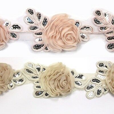 Sequin Flower Chiffon Trim Lace - Women baby Girls Hair Accessories Hats Dress 1