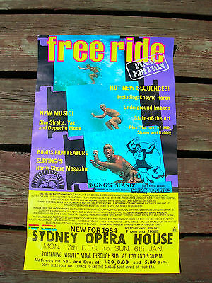 vintage surf movie poster free ride 1984 australia showing surfboard surfing